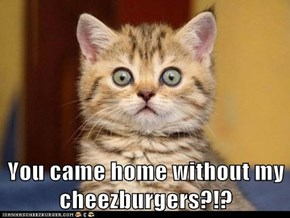 You came home without my cheezburgers?!?
