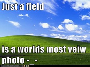 Just a field  is a worlds most veiw photo -_-