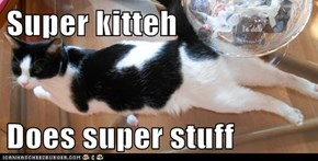 Super kitteh  Does super stuff