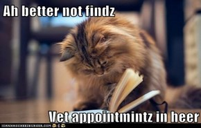 Ah better not findz  Vet appointmintz in heer