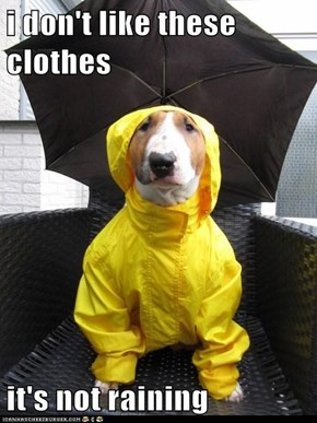 i don't like these clothes  it's not raining