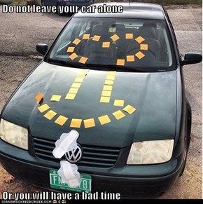 Do not leave your car alone  Or you will have a bad time