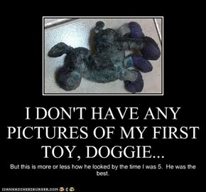 I DON'T HAVE ANY PICTURES OF MY FIRST TOY, DOGGIE...