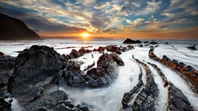 Winding Waves at Barrika Beach, Spain