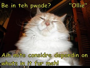 "Be in teh pwade?       ""Ollie""  Aih mite considre dependin on whuts in it fur meh!"