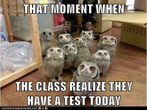 THAT MOMENT WHEN  THE CLASS REALIZE THEY HAVE A TEST TODAY