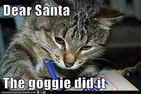 Dear Santa  The goggie did it