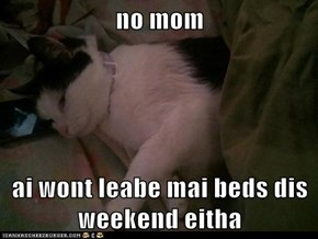 no mom  ai wont leabe mai beds dis weekend eitha