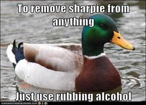 To remove sharpie from anything  Just use rubbing alcohol