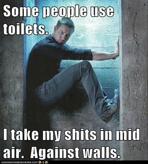 Some people use toilets.  I take my shits in mid air.  Against walls.