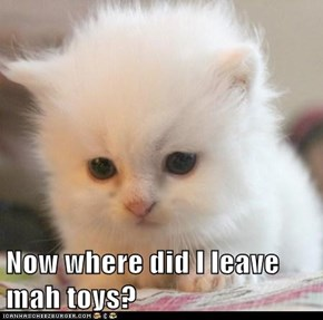 Now where did I leave mah toys?