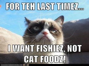 FOR TEH LAST TIMEZ...  I WANT FISHIEZ, NOT CAT FOODZ!