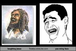laughing jesus Totally Looks Like yao ming face