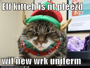 Elf kitteh is nt pleezd  wif new wrk uniferm