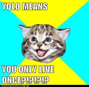 YOLO MEANS  YOU ONLY LIVE ONCE?!?!?!?