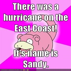There was a hurricane on the East Coast!  It's name is Sandy.