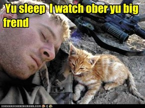 Yu sleep  I watch ober yu big frend