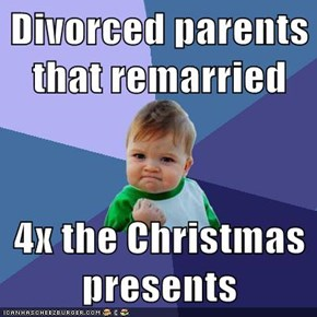 Divorced parents that remarried  4x the Christmas presents