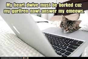 My  heart  dwive  must  be  borked  cuz  my  gurlfren  nawt  answer  my  emeows.