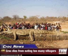 Croc News - Croc dies from eating too many villagers