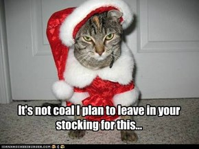 It's not coal I plan to leave in your stocking for this...