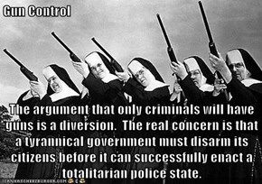 Gun Control  The argument that only criminals will have guns is a diversion.  The real concern is that a tyrannical government must disarm its citizens before it can successfully enact a totalitarian police state.