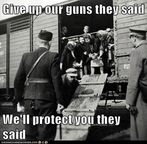 Give up our guns they said  We'll protect you they said