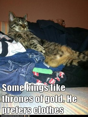 Some kings like thrones of gold. He prefers clothes