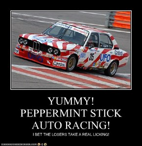 YUMMY! PEPPERMINT STICK AUTO RACING!