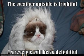 The weather outside is frightful  My revenge will be so delightful