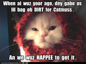 When  ai  wuz  yoor  age,  dey  gabe  us  lil  bag  ob  DIRT  for  Catmuss .