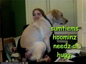 sumtiems hoominz needz a hugg.