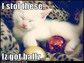I stol these,   Iz got ballz...