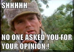 SHHHHH   NO ONE ASKED YOU FOR YOUR OPINION.!