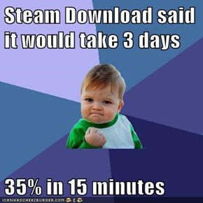 Steam Download said it would take 3 days  35% in 15 minutes