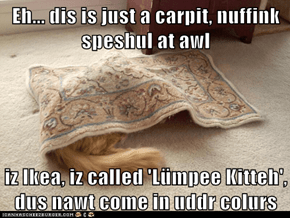 Eh... dis is just a carpit, nuffink speshul at awl  iz Ikea, iz called 'Lümpee Kitteh', dus nawt come in uddr colurs