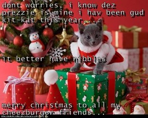 dont worries, i know dez prezzie is mine i hav been gud kit-kat this year.... it better have nibbles merry christmas to all my cheezburger friends...