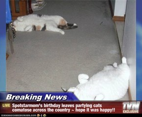 Breaking News - Spotstarmom's birthday leaves partying cats comatose across the country ~ hope it was happy!!