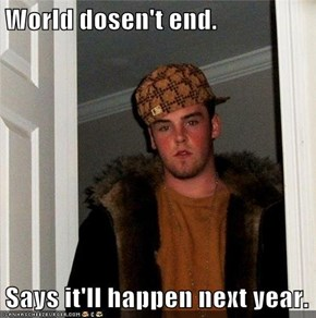 World dosen't end.  Says it'll happen next year.