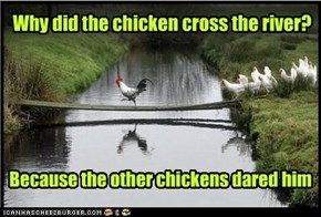 Why did the chicken cross the river?