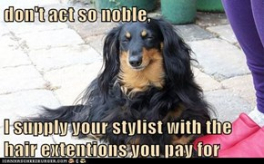 don't act so noble,  I supply your stylist with the hair extentions you pay for
