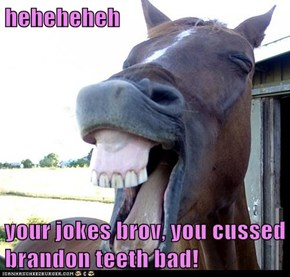 heheheheh  your jokes brov, you cussed brandon teeth bad!