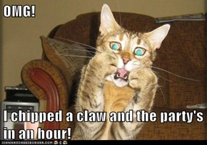 OMG!   I chipped a claw and the party's in an hour!