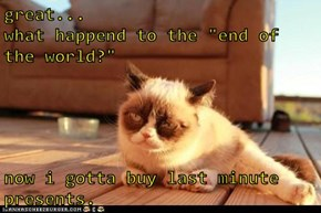 "great...                      what happend to the ""end of the world?""  now i gotta buy last minute presents."