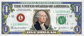 Colorized One Dollar Bill