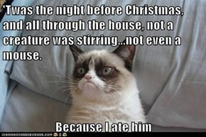 'Twas the night before Christmas, and all through the house, not a creature was stirring...not even a mouse.  Because I ate him