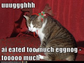 uuuggghhh  ai eated too much eggnog - tooooo much