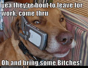 yea they're bout to leave for work, come thru  Oh and bring some Bitches!