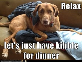 Relax  let's just have kibble for dinner