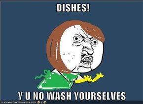 DISHES!  Y U NO WASH YOURSELVES